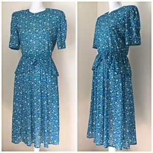 Vintage 40's-style Teal Floral Peplum Knit Dress 8